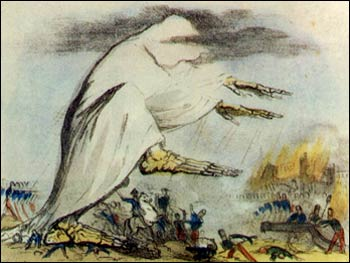 "19th Century depiction of miasmas, or ""bad air"" spreading disease."